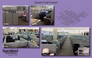 Photo of a call center revamped with the help of Specialized Office Systems